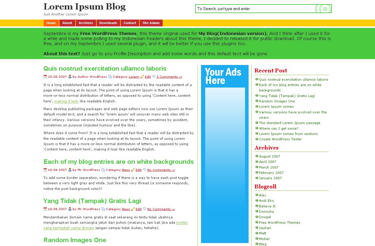 Septembre WP Theme Screenshot