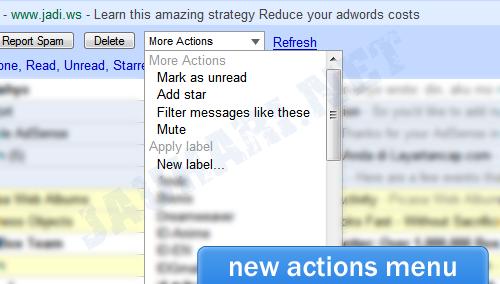 New GMail Actions Menu