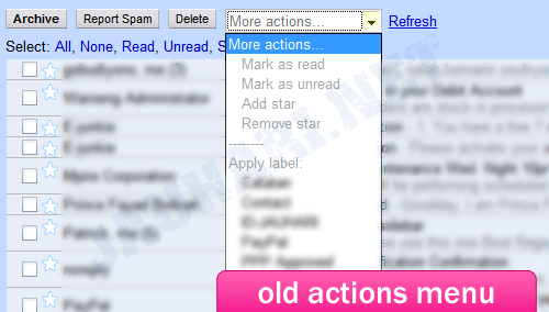 Old GMail Actions