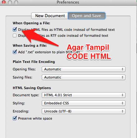 Cara Tampilkan HTML Code di TextEdit