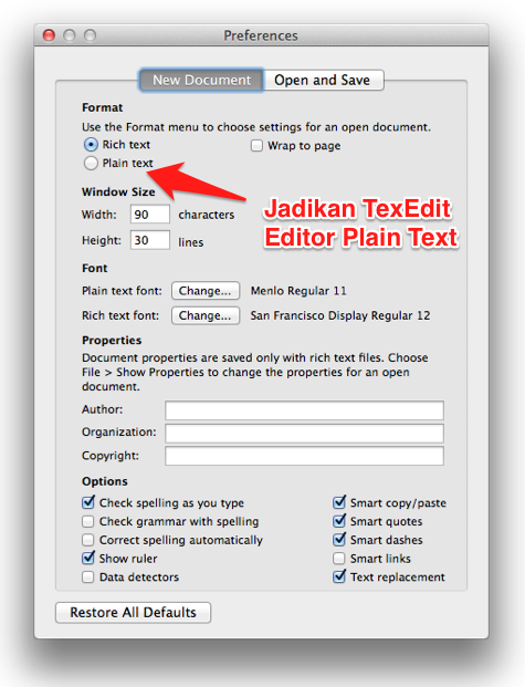 Jadikan TextEdit Editor Plain Text