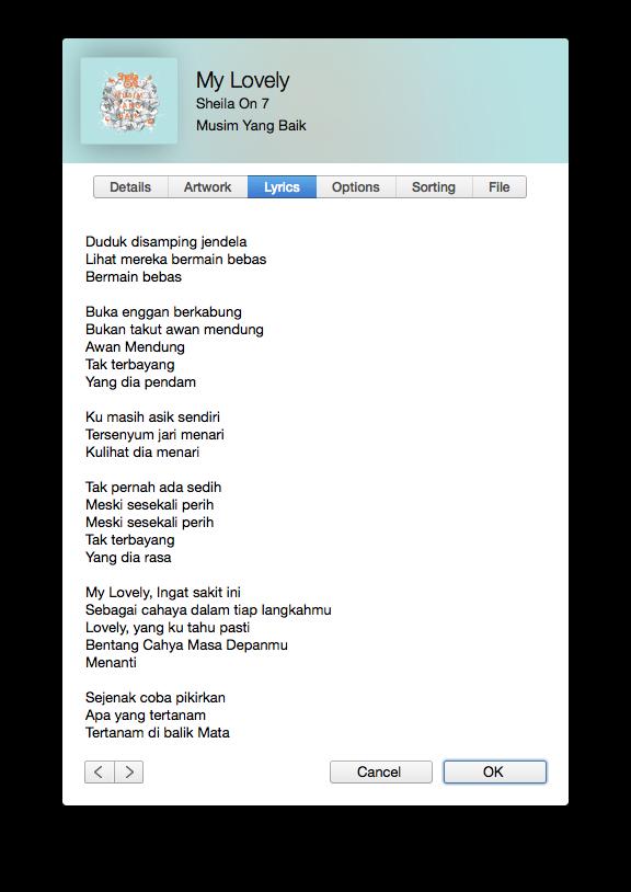 Lirik My Lovely Sheila On 7 2014