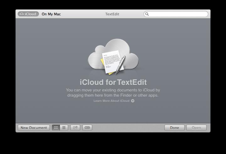 TextEdit for Mac OS X Mavericks support iCloud