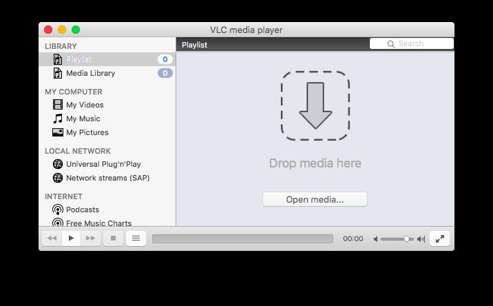 Interface Halaman Utama VLC Mac OS X