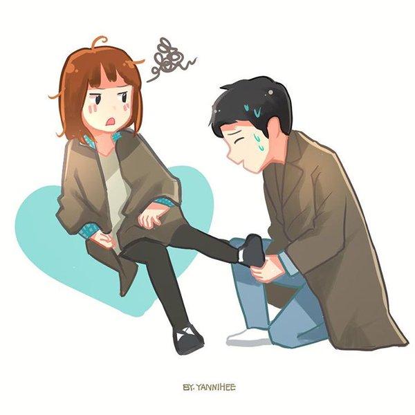 Gambar Kartun Kapten Yoo Sijin & Dr. Kang Mo Yeon